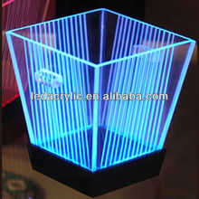 plastic led lighted ice bucket with detachable stand