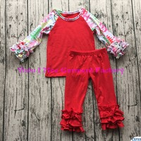 boutique fall raglan clothes children's ruffle christmas clothing sets with long christmas tree sleeve and icing pant outfits