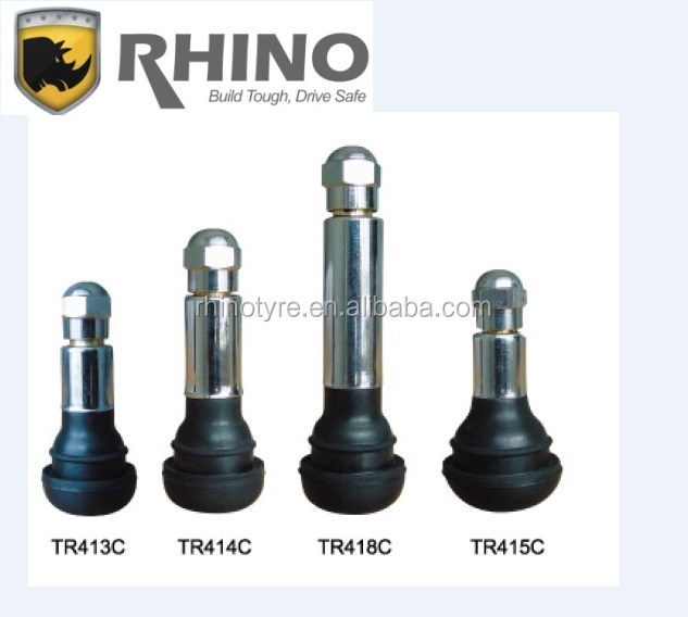 TYRE VALVE RHINO VALVE CHROME SLEEVED SNAP-IN VALVE