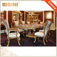 BISINI French Style Royal Marquetry Dining Room Furniture / European Classic Wooden Carving Dining Room Long Table For 8 People