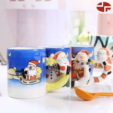 Ceramic christmas design with painting dolomite water coffee milk mug loving cup