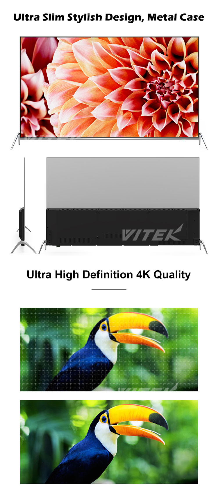 Customer Brand 40 inch Flat Screen Smart LED 4K Ultra HD TV