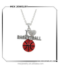 2016 silver white Crystal I love basketball fans heart shape pendant necklace