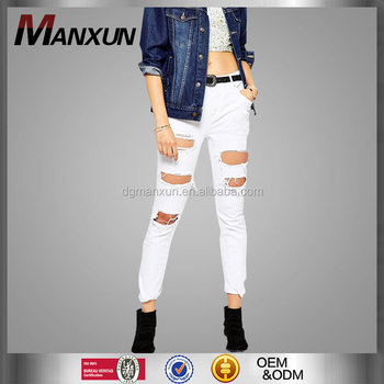 2016 New Hot Sale Trendy Sexy Low Rise White Ripped Jeans For Women