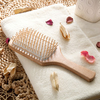 Hot Sales European Style Beech and Grass Wooden Hair Comb