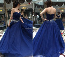 SJ2629 latest sexy sweetheart organza beaded ball gown royal blue wedding dress