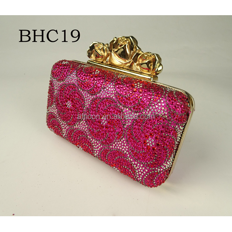 BHC19 Queency Designer Fushia Genuine Leather Crystal Beads Box Evening Bag Clutch for African Fashion Wedding and Party