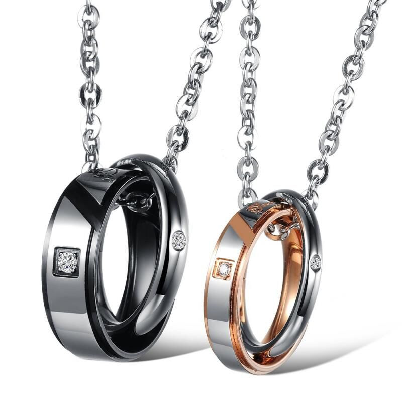 2017 <strong>Accessories</strong> Hot Lovers' Round Jewelry Wholesale New Romantic Couples With Chain Women's Necklace & Pendants Christmas Gx867
