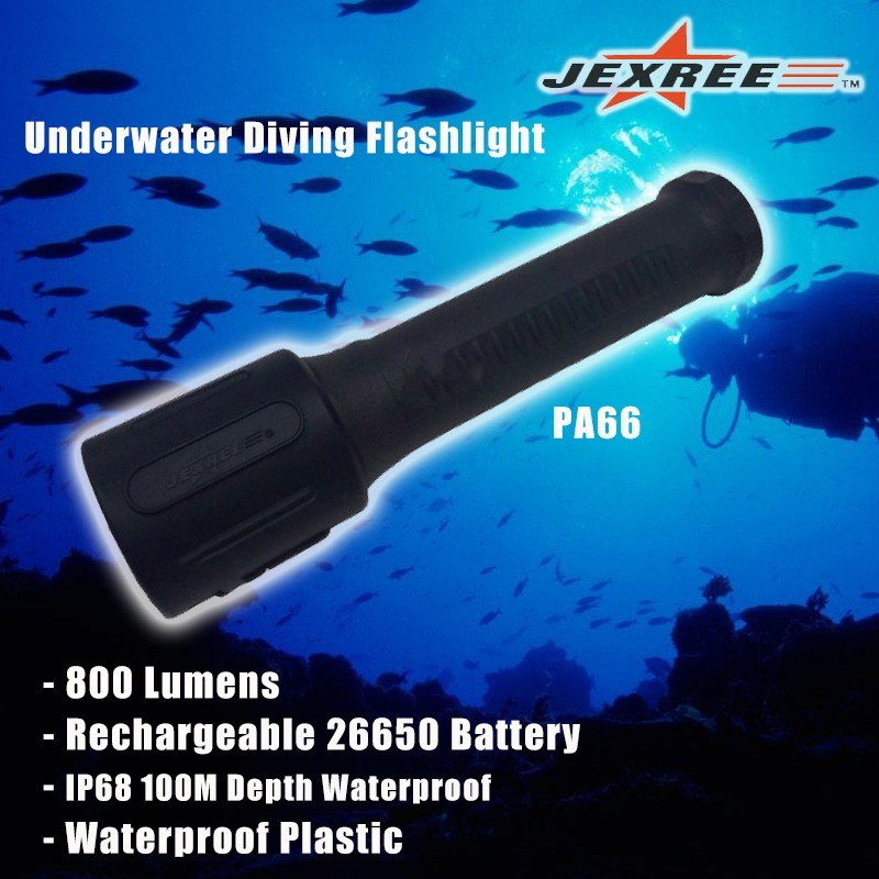 CE RoHS Certified IP68 Underwater Plastic LED Diving Flashlight