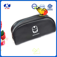 hotselling custom promotion black leather pencil bag with zipper