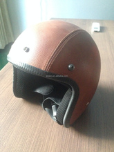 motorcycle open face leather helmet with DOT CE approved ABS shell german style vintage with visor