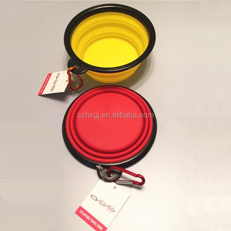 In - stock private label customized logo large size collapsible silicone travel dog bowls