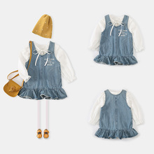 Kids Clothing Wholesale Vest Denim Dress And White Blouse Girls Frocks Sets 66203