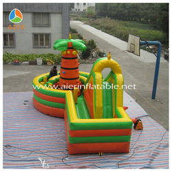 2014 Hot Coco palm theme Inflatable Rock Climbing Combo