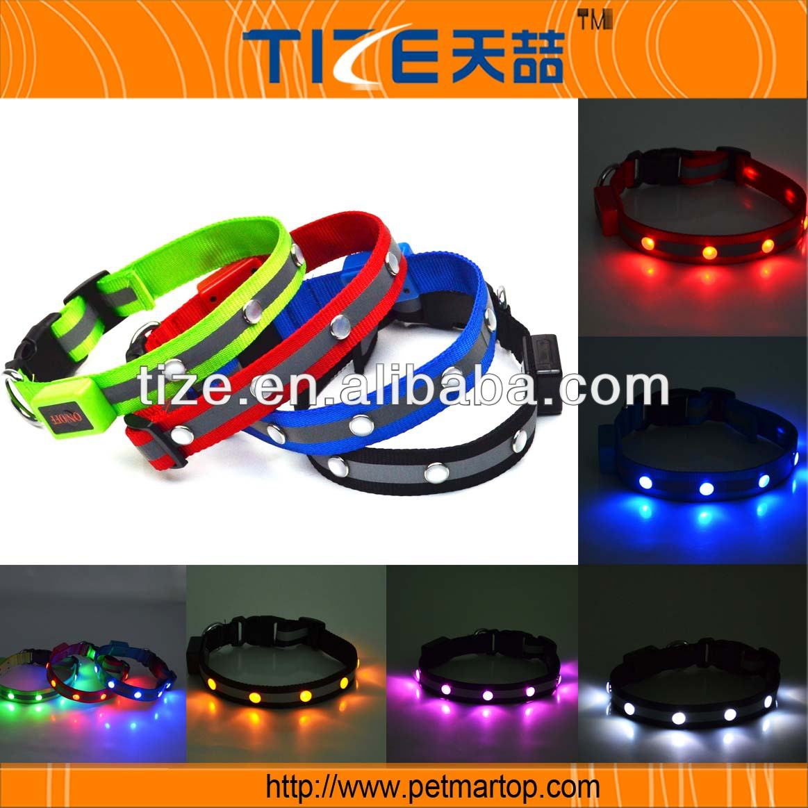 Led Lights Pet Collar Wide Cloth Models TZ-PET1002