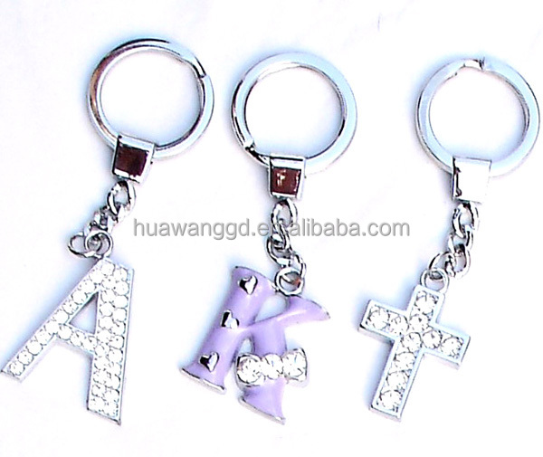 35mm large Initial jeweled rhinestone letter keychain