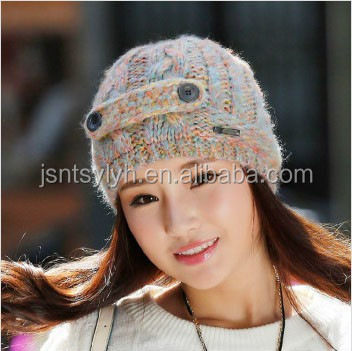 2015 new design winter multicolor twist sweetness knitted beanie hat