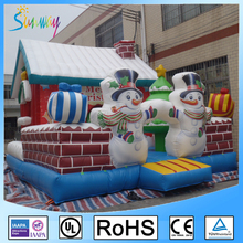 Custom Inflatable Christmas Bounce House, Christmas Bouncy castle slide, Holiday Inflatable jumper for kids