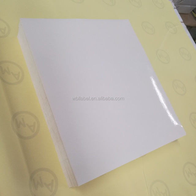 Glossy face inkjet cast coated adhesive paper