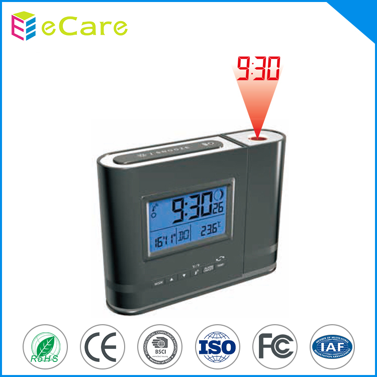 Black color use AAA battery LCD display projection alarm clock countdown