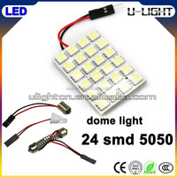 Hot sale 24 smd 5050 car led interior dome light with white, red, yellow, blue, green for choice