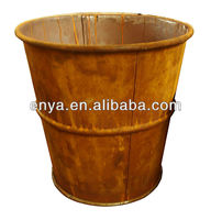 Hot Salel Metal Antique Flower Pots, Rustic Round Planters