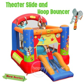 Happy Hop Inflatable Bouncer-9304T Theater Slide and Hoop Bouncer