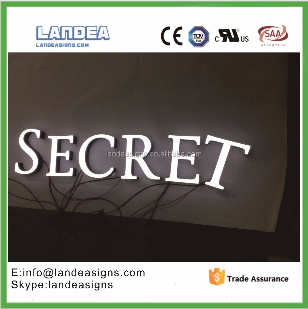 Led Stainless Steel Border 3D Illuminated Metal Sign Frontlit Advertising Acrylic Channel Letter