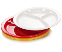 Top Grade Promotional 100 melamine breakfast food serving tray unbreakable 3 compartment plate