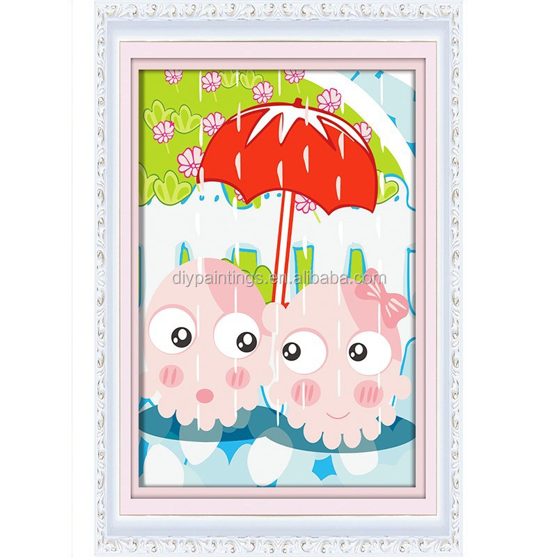 Diy painting toys oil paint cartoon animals painting by number