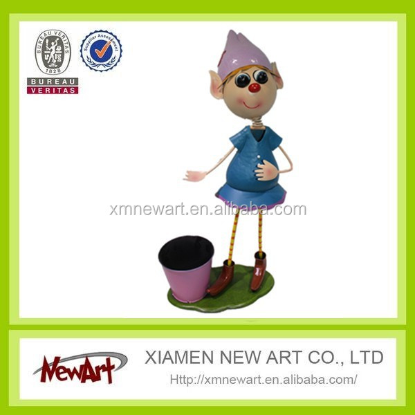 Latest fashion metal garden plants flowers pot with adorable fairy