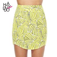 HAODUOYI Print Mini Skirts Women High Waist Skirt Ladies OL Pencil Skirts