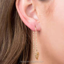 Simple Gold Earring Designs 18k Layered Gold Heart Threader Earrings