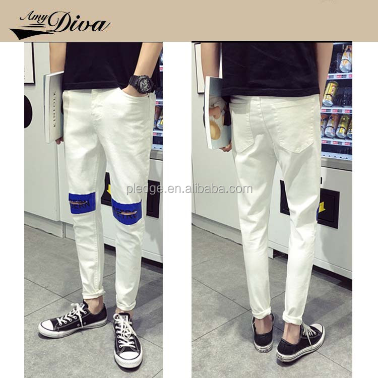 Latest plain middle waist washed wholesale cheap sport jean denim jeans trousers for men in 2016
