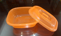 Popular plastic food storage container, rectangular basin with cover