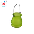 hanging colored glass candle jar with metal handles for sales /candle jars in glass