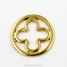custom 22mm gold round metal plate charms for screw floating lockets