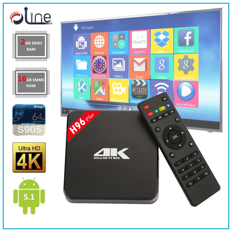 Mobile phone remote control Amlogic S905 2GB DDR3 RAM 16GB EMMC ROM KODI 16.1 h96 plus tv box New Released decoder box cable tv