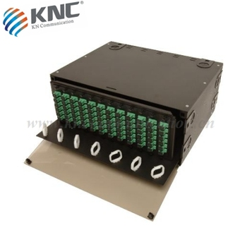 Rack mount 4U sliding fiber optic patch panel