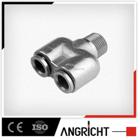 B108 TS16949 y branch type quick joint copper push in fitting,push pneumatic connector