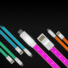 retractable led Light USB cable with beautiful light and smile logo data cable for iphone and android