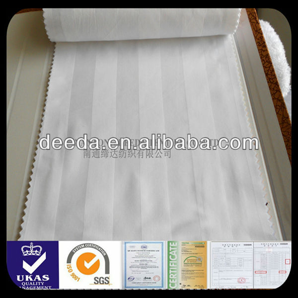 bleached white cotton 60sx40s 300T sateen 3cm stripe fabric