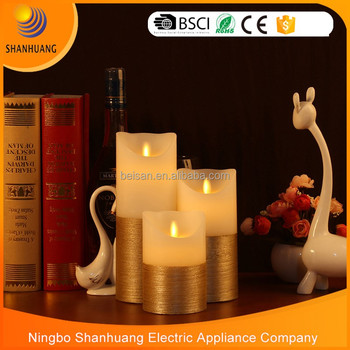 BSCI factory Wick candles wholesale Golden electric candle light led flameless candle