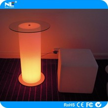 Night decoration LED light up cylinder coffee and cocktail bar table