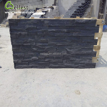 Natural black quartz culture stone wall stacked panel for cladding