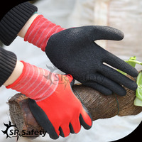 SRSAFETY Turkey hot sale red polyester palm coated latex work gloves