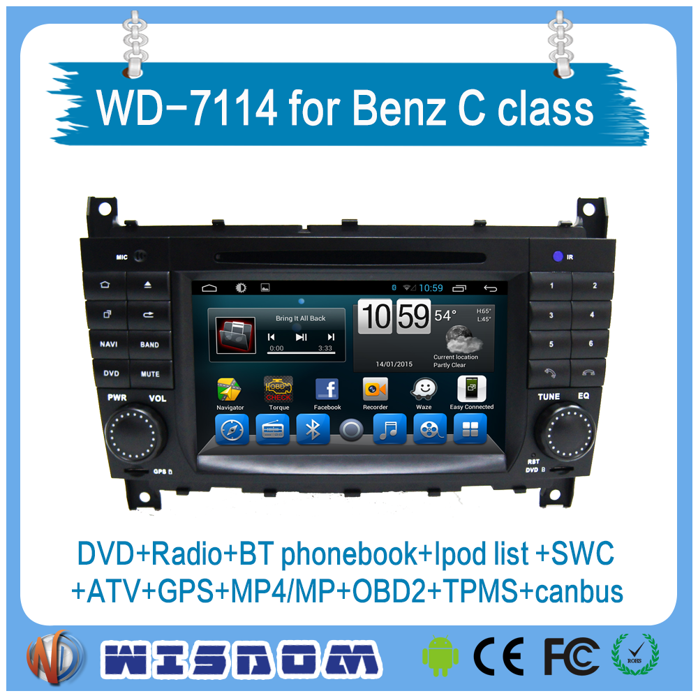 WISDOM android car dvd for mercedes benz c-class w203 W204 car dvd player c class navigation system