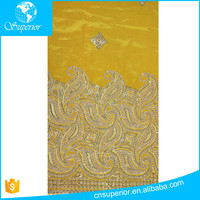 100% Polyester woven sequin embroidery Slub fabric african george fabric from india customized high quality wholesale
