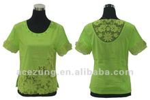 Summer lace woman top blouse back neck design from factory supplier
