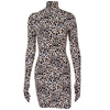 Z93928B Women's Long Sleeve Leopard Print Gloves Dress